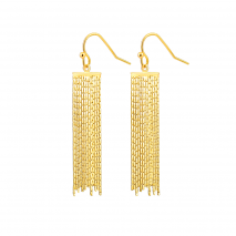 Aobei Pearl Dainty Snake Chain Tassel Earring made of 18K Gold Plated Copper, Handmade Sleek Chain Dangle Earring for Women, ETS-E288