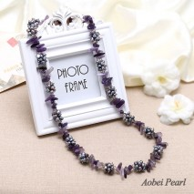 Aobei Pearl Handmade Necklace made of 6-7 mm Baroque Freshwater Pearls and Natural Amethyst, Beaded Necklace, Pearl Necklace, ETS-S067