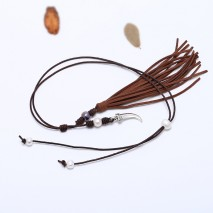 Aobei Pearl, Handmade Tassel Necklace with Freshwater Pearl, Genuine Leather Cord and Alloy Accessory, ETS-S545