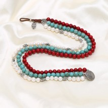 Aobei Pearl - White pearl necklace, Red Coral Necklace,Nature turquoise necklace,Women pearls Necklace,Genuine Freshwater Pearl,ETS-S225