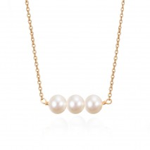Aobei Pearl Cultured Freshwater Pearl Bar Necklace 18K Gold Plated Chain Necklace Handmade Adjustable Jewelry for Women, Pearl Necklace, Backfrop Necklace, Pendant Necklace, ETS-S952