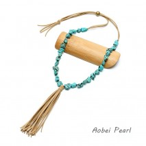Aobei Pearl - Handmade Necklace with Turquoise and Korean Velvet, Tassel Necklace, ETS-S655