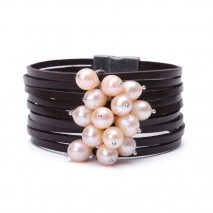 Aobei Pearl Handmade Bracelet with Rice Shape Freshwater Pearl and Genuine Leather, Pearl Bracelet, Wrap Bracelet, ETS-B336
