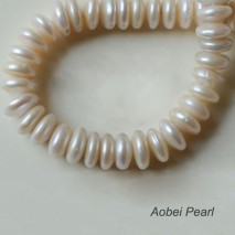 Aobei Pearl, 1 Strand from the Sale, Freshwater Pearl Strand for Jewelry Making, 13-14 mm White Coin Pearls with  Small Hole, Jewelry Findings, ETS-Z221