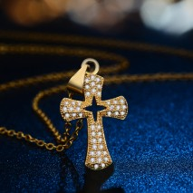 Aobei Pearl Cross Pendant Necklace, 14K Gold Plated Alloy Chain Necklace, Handmade Adjustable Jewelry, Micro-inlaid Necklace, ETS-S960