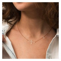 Aobei Pearl Electrocardiogram Pendant Necklace 18K Rouse Gold Plated Stainless Steel Chain Strand Handmade Adjustable Jewelry for Women, Long Chain Necklace, Dangle Necklace, Heart Charm Necklace, ETS-S969