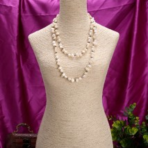 Pearl beaded necklace, tail pearl necklace, long pearl beaded necklace, ETS - S121