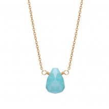Aobei Pearl Gemstome Pendant Necklace, Adjustable 18K Gold Plated Chain Necklace, Amazonite Necklace, Moonstone Necklace, Labradorite Necklace, ETS-S961