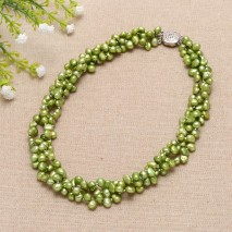Handmade fashion  baroque pearls with silver clasp necklace ETS-S028