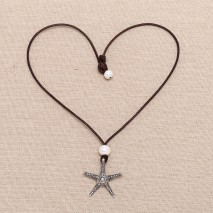 Aobei Pearl - Leather pearl necklace ETS-S159