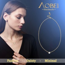 Aobei Pearl 18K Gold Chain Choker Cubic Zircon Pendant Necklace Handmade Adjustable Jewelry for Women, Dangle Necklace, ETS-S997