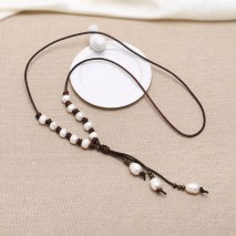 Handmade leather pearl necklace ETS-S156