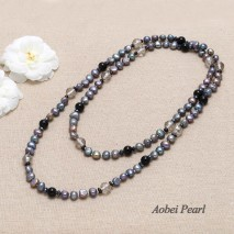 Aobei Pearl Handmade Necklace made of Natural Garnet, Freshwater Pearl, Natural Krocodylite and Crystal, Long Beaded Necklace, Pearl Necklace, ETS-S118