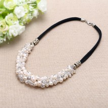 White Pearls Necklace Leather Necklace Genuine Freshwater Pearls White baroque Pearls,19 inches for Women necklace,ETS-S077
