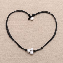 Fashion 4 beads twisted black leather freshwater pearl pendant necklace ETS-S180