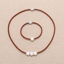 Aobei Pearl Handmade Jewelry Set with Freshwater Pearl and Leather Cord, Pearl Jewelry, ETS-S130