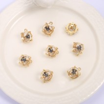 Aobei Pearl ,4 PCS From The Sale, 18K Gold-Plated Hollow Square Tripod With Zircon Pendants,Dangle Pendant For Jewelry Making, Jewelry Findings, DIY Jewelry Material, Making Supplies ETS-K1175