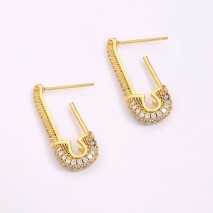 Aobei Pearl, 2 PCS from the Sale, 18K Gold-Plated Lucky Earrings U-Shaped Micro-Inlaid Zircon Jewelry Pendant for Jewelry Making, Jewelry Findings, DIY Jewelry Material, ETS-K1276