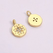 Aobei Pearl, 6 PCS from the Sale, 18K Gold-Plated Round Shape With Petal-Shaped Micro-Inlaid Zircon Jewelry Pendant for Jewelry Making, Jewelry Findings, DIY Jewelry Material, ETS-K1277