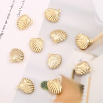 Aobei Pearl, 10 PCS from the Sale, 18K Gold Plated Hollow Shell Charm for Jewelry Making, Jewelry Findings, DIY Jewelry Material, ETS-K301