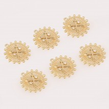 Aobei Pearl ,4PCS From The Sale, 18K Gold Plated Sun Medallion Dangle Pendant For Jewelry Making, Jewelry Findings, DIY Jewelry Material, Making Supplies ETS-K471