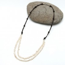 Aobei Pearl - Handmade Leather and Freshwater Pearl Necklace, Bib Necklace, ETS-S154