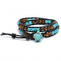 6mm Round turquoise and 6mm tiger eye stone with real leather rope,women nature stone bracelet,leather bracelet,ETS-B340