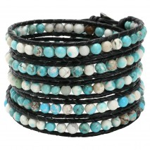 Aobei Pearl, Handmade Wrap Bracelet with Leather Cord & 5 mm Natural Turquoise Beads, ETS-B424