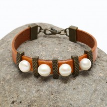 Aobei Pearl Handmade Button White Freshwater Pearl Bracelet on Orange Leather, ETS-B430