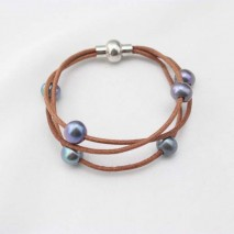 Aobei Pearl - Brown leather cord peacock pearl bracelet, wrap bracelet, pearl bracelet, ETS - B0020