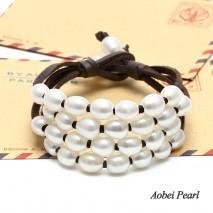 Aobei Pearl - Handmade Bracelet in Four Strands made of Korean Velvet & Freshwater Pearl, Pearl Bracelet, ETS-B003