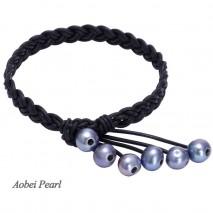 Aobei Pearl, Handmade Bracelet, Braided Bracelet, Pearl Bracelet, Leather Bracelet with 9-10 cm AA Black Potato Freshwater Pearl & Genuine Leather, ETS-B001