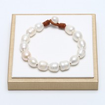 Aobei Pearl - Handmade Bracelet with Freshwater Pearl and Genuine Leather Cord, Pearl Bracelet, ETS-B100