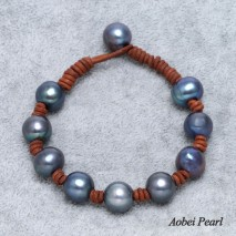 Aobei Pearl - Handwoven Bracelet made of Black Freshwater Pearl and Genuine Leather Cord, Pearl Bracelet, Leather Bracelet, ETS-B111