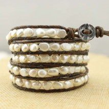 Aobei Pearl Handmade Bracelet made of 6-7 mm White Baroque  Freshwater Pearl and Genuine Leather Cord, Leather Pearl Wrap Bracelet, ETS-B112