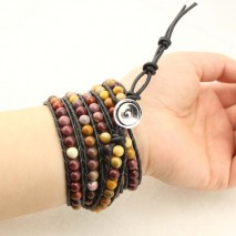 Women's bracelet nature stone bracelet , women leather bracelet with round nature stone beads handmade jewelry bracelet for women,ETS-B141