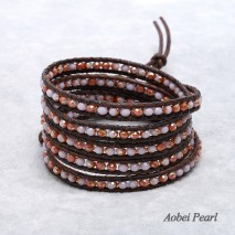 Aobei Pearl Handwoven Bracelet made of 4 mm Sectioned Crystal Beads and Genuine Leather Cord, Wrap Bracelet, ETS-B142
