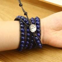 White Celestine lapis lazuli Bracelet  Women Leather Bracelet ,8.5 mm Genuine round beads,Fashion jewelry for man and women,ETS-B170