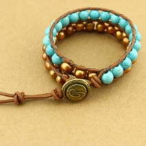 Aobei Pearl, Bronze Freshwater Pearl and Turquoise Bracelet, Wrap Bracelet, Pearl Bracelet, Unisex Bracelet, Leather Bracelet for Women, ETS-B171
