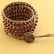 5-6 mm potato red bronze handmade fashion pearl bracelet  ETS-B203