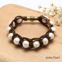 Aobei Pearl Handmade Bracelet made of 11-12 mm White Potato Freshwater Pearl, Alloy Magnetic Clasp and Genuine Leather Cord, Leather Pearl Bracelet, Braided Bracelet, ETS-B204