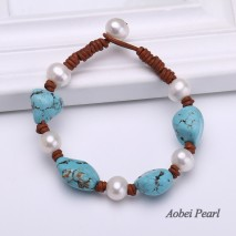 Aobei Pearl - Handmade Bracelet made of Freshwater Pearl, Genuine Leather Cord and Turquoise, Knotted Leather Bracelet, Pearl Bracelet, ETS-B205