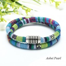 Aobei Pearl Handmade Bracelet / Necklace made of Bohemian Cloth Cord and Alloy Magnetic Bracelet, Wrap Bracelet, ETS-B250
