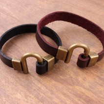 Aobei Pearl - 10mm*2mm Black/Red Brown Leather Alloy Button 7'' Handmade Bracelet