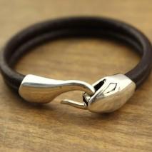 Aobei Pearl, 5 MM Handmade Black Genuine Leather Alloy Accessory Snake Button Bracelet