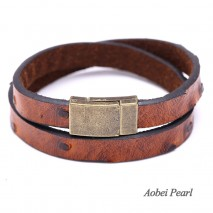 Aobei Pearl Handmade Bracelet made of Tan Magnetic Clasp and 10 mm * 2.5 mm Leather Cord, Two Laps of the PU Leather Bracelet, Wrap Bracelet, ETS-B310