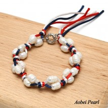 Aobei Pearl, Handmade Bracelet made of 9-10 mm Freshwater Pearl and Colorful Silk Rope, Decoration Bracelet, Pearl Bracelet, ETS-B338
