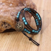 6mm Round turquoise and 3mm coffee beads with real leather cord,women nature stone bracelet leather bracelet,ETS-B339
