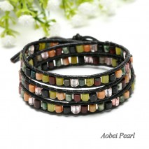 Aobei Pearl, Handmade Wrap Bracelet with 4.5 mm * 3 mm Colorful Natural Stone Beads and Genuine Leather Cord, Leather Bracelet, ETS-B342