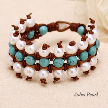 Aobei Pearl Handmade Bracelet made of Freshwater Pearl, Turquoise and Genuine Leather Cord, Leather Pearl Bracelet, Braided Bracelet, Wrap Bracelet, ETS-B353